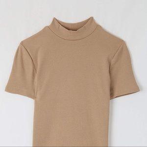beige nude camel mock neck ribbed top